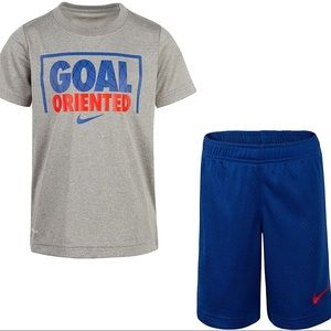 Nike Boy Outfit blue red grey shorts top